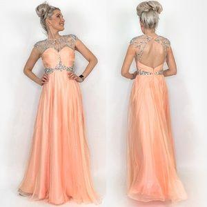 Peach Illusion Rhinestone Prom Pageant Dress